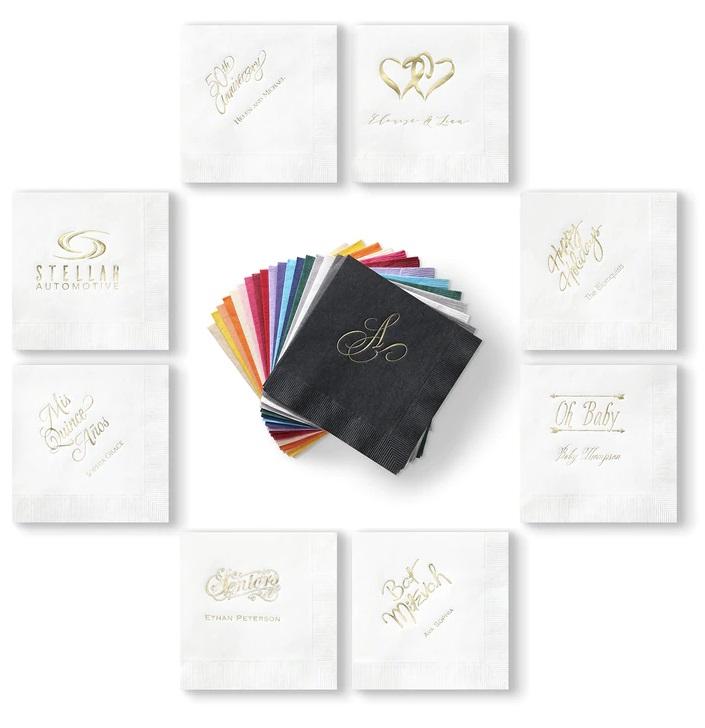 White Wedding Napkins, Printed Napkins, Personalized Wedding Napkins